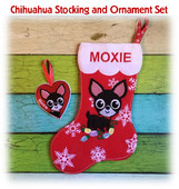 In The Hoop Chihuahua Stocking and Heart Ornament Embroidery Machine Design