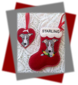 In The Hoop Grehhound Stocking And Ornament Embroidery Machine Design Set