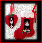 In The Hoop Australian Shepherd Heart Ornament and Stocking Embroidery Machine Set