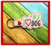 In The Hoop I Heart My Dog Key Fob Embroidery Machine Design