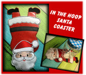 In The Hoop Flat Coaster Santa Embroidery Machine Design