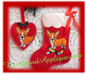 In The Hoop Corgi Stocking & Ornament Embroidery Machine Design Set
