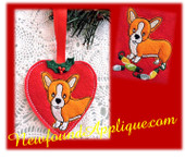 "In The Hoop Corgie Heart Ornament & Embroidery Machine Design for 4""x4"" Hoop"