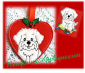 In The Hoop Maltese Heart Ornament & Embroidery Machine Design Set