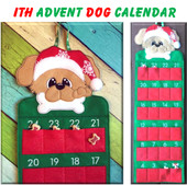 In The Hoop Advent Dog Calendar Embroidery Machine Design