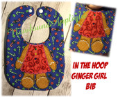 In The Hoop Ginger Girl Body Bib Embroidery Machine Design