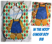 In The Hoop Ginger Boy Body Bib Embroidery Machine Design