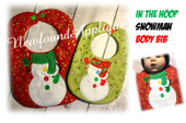 In The Hoop Snowman Body Bib Embroidery Machine Design