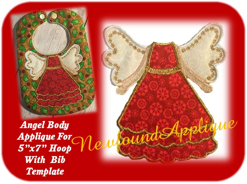 5x7 Angel Applique Design Embroidery Machine Design With Bib