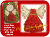 "5""x7"" Angel  Applique Design Embroidery Machine Design With Bib Template"