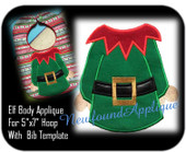 "5""x7"" Boy Elf Applique Embroidery Machine Design with Bib Template"