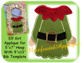 "5""x7"" Elf Girl Applique Embroidery Machine Design With 9""x13""Bib Template"