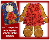 "5""x7"" Ginger Girl Applique Design With 9""x13"" Bib Template"