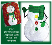 "5""x7"" Snowman Applique Embroidery Machine Design With 9""x13"" Bib Template"
