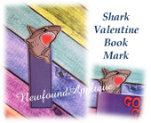 In The Hoop Shark Valentine Book Mark Embroidery Machine Design