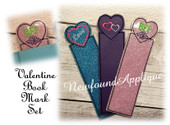 In The Hoop Valentine Book Mark Set 2 Embroidery Machine Designs