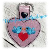 In The Hoop Heart Love Bird Key Fob Embroidery Machine Design
