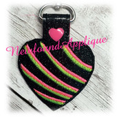 In The Hoop Heart Key Fob Ribbons Embroidery Machine Design