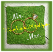 In The Hoop Wedding Ring Coaster Embroidery Machine Design
