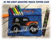 In The Hoop Lined Monster Truck Zipped Case Embroidery Machine Design