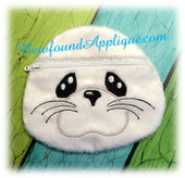 "In The Hoop Seal Puppy Zipped Case Embroidery Machine Design for 5""x7"" Hoop"