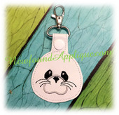 "In The Hoop Seal Puppy Key Fob Embroidery Machine Design for 4""x4"" and 5""x7"" hoops"