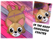 "In The Hoop Flat Coaster Chihuahua Embroidery Machine Design for 5""x7"" Hoop"