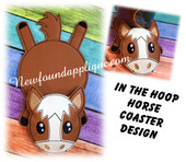 "In The Hoop Flat Coaster Horse Embroidery Machine Design for 5""x7"" Hoop"