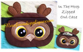 "In The Hoop Owl Zipped Case Embroidery Machine Design for 5""x7"" Hoop"
