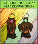 In the Hoop Doberman Key Fob Design