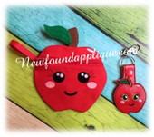 In The Hoop Apple Zipped Case and Key Fob Embroidery Machine Design Set