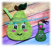 In the Hoop Pear Zipped Case and Key Fob Embroidery Machine Design Set