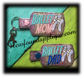 In The Hoop Ballet MOM, DAD, and MUM Key fob Embroidery Machine Design Set
