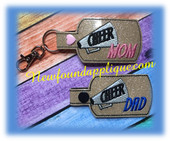 In the Hoop Cheer MOM, MUM,DAD Key Fob Embroidery Machine Design set
