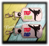 In The Hoop Taekwondo MOM, DAD, MUM Key Fob Embroidey Machine Design set