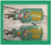 In The Hoop Proud MOM DAD MUM Dog Tag Key Fob embroidery Machine Design set
