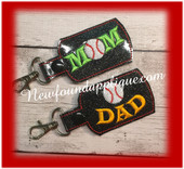 In The Hoop Baseball MOM DAD Key Fob Embroidery Machine design SEt