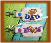 In the hoop Football MOM DAD Key Fob EMbroidery Machine Design Set
