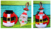 In The Hoop Santa Cup Gift Card Holder and Ornament Embroidery Machine Design Set