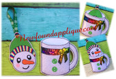 In The Hoop Snowman Cup Gift Card Holder and Ornament Embroidery machine Design set