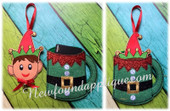 In The Hoop Elf Cup Gift Card Holder and Ornament Embroidery machine Design set