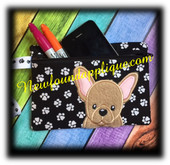 In The Hoop French Bull Dog Zipped Case Embroidery Machine Design