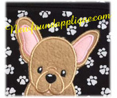 French Bull Dog Applique Embroidery Machine Design