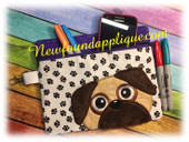 In the Hoop Pug Zipped Case Embroidery Machine Design