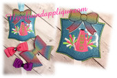 In the hoop Cheer Bow Holder Embroidery Machine Design