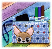 In The Hoop Chihuahua Zipped Case Embroidery Machine Desgin