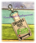 In the Hoop Driver Test Pass Key Fob Embroidery Machine Design