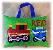 In The Hoop Train Tooth Pillow Embroidery Machine Design