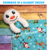 In The Hoop Snowman In A Blanket Embroidery Machine Design