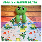 In The Hoop Frog In A Blanket Embroidry/Sewing Machine Design